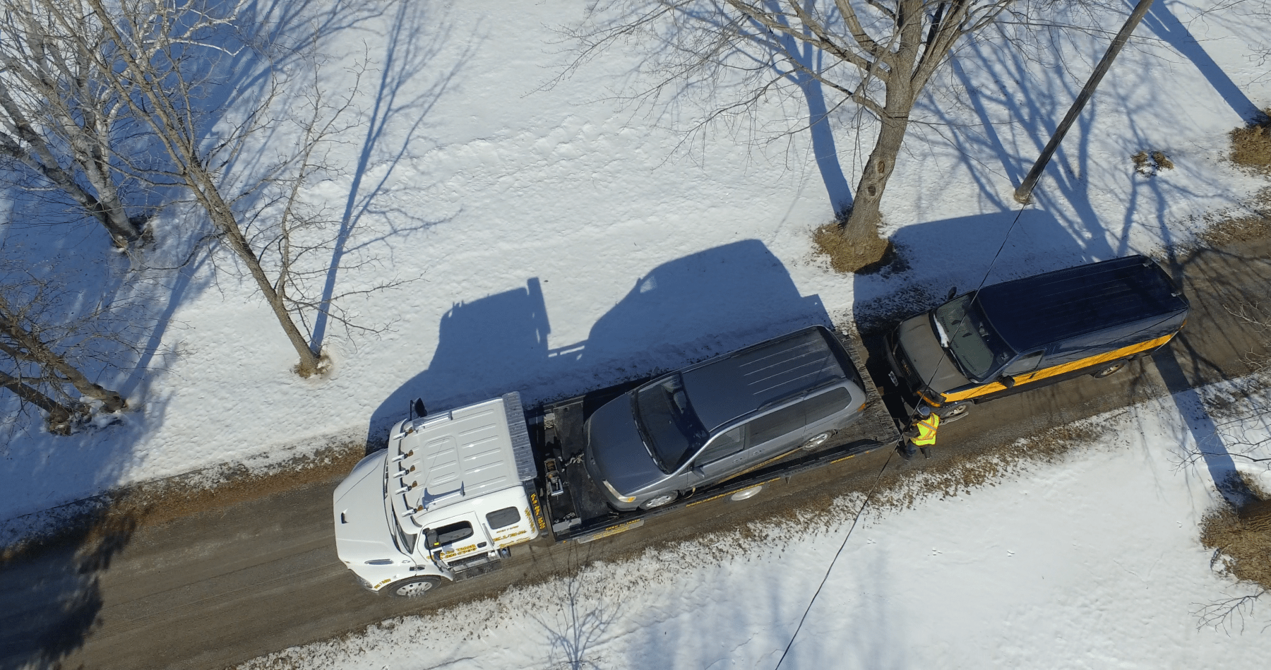 Aerial view of used car towing