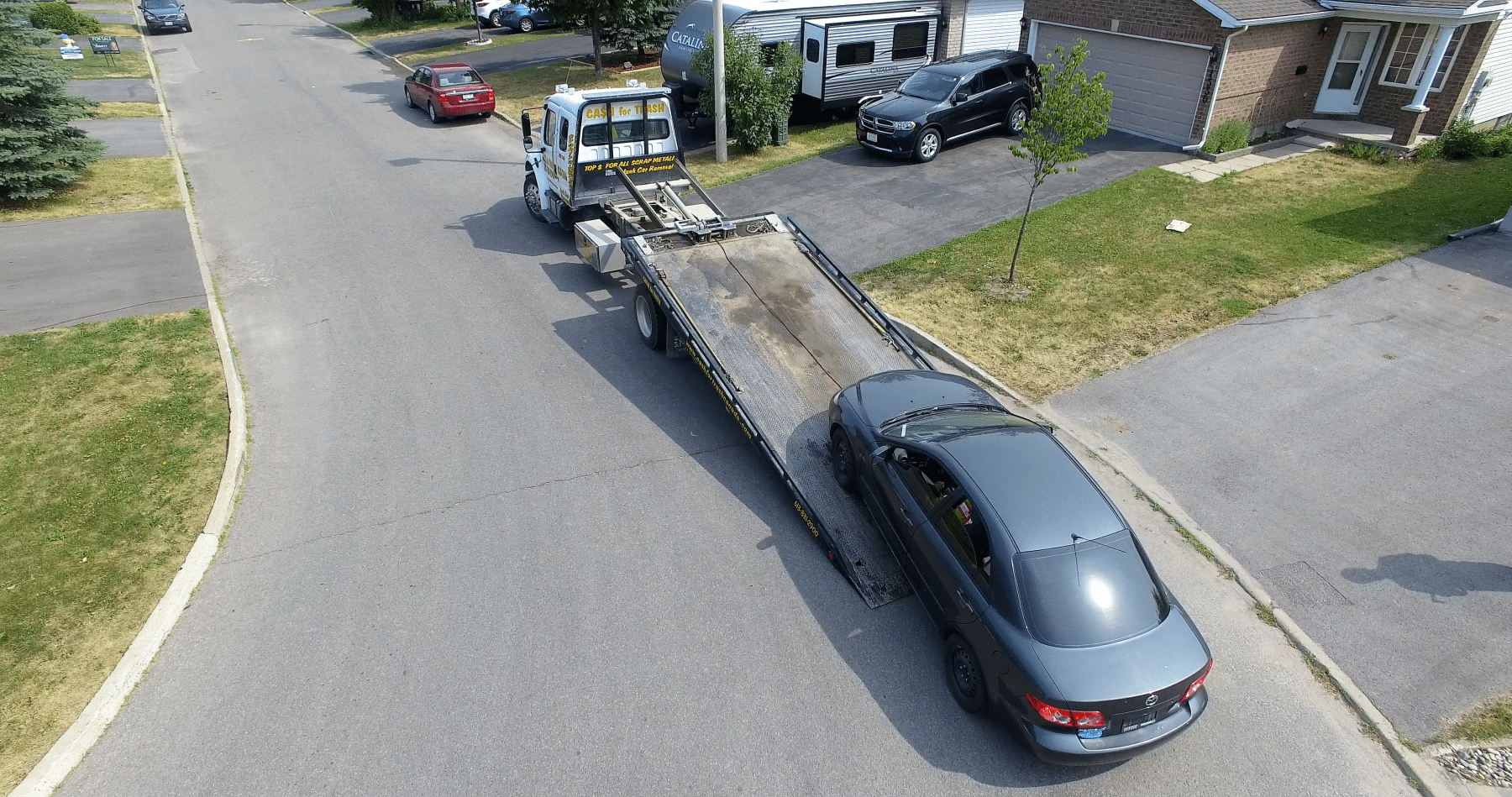 scrap car removal drone photo in nepean